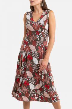Vestido acampanado estampado floral, largo medio(121367774)