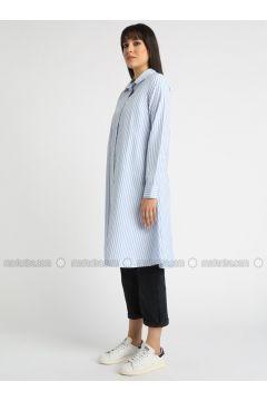 Blue - Stripe - Point Collar - Tunic - MOODBASİC(110339151)
