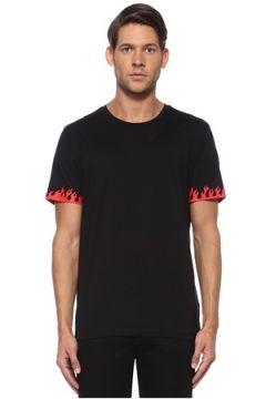 Academia Erkek Siyah Kolları Kontrast Alev Baskılı Basic T-shirt L EU(115893792)