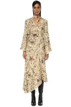 Etro Kadın Krem Şal Desenli Asimetrik Midi İpek Elbise Beyaz 42 IT(120885062)