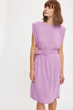 DeFacto Kadın Vatkalı Kollu Kemerli Midi Boy Elbise(125931289)