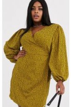 Glamorous Curve - Vestito a portafoglio a pois effetto dalmata con maniche voluminose-Giallo(120329966)