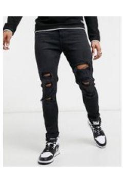 Bershka - Jeans super skinny neri con strappi-Nero(124790587)