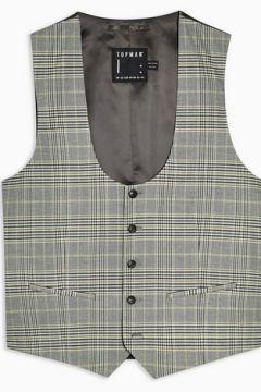 Gilet de costume skinny gris à carreaux(96894567)