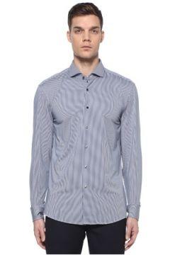 Boss Erkek Slim Fit Lacivert Yarı İtalyan Yaka Çizgili Gömlek 39 IT(108972778)