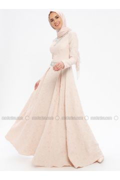 Pink - Fully Lined - Crew neck - Muslim Evening Dress - Pia(110335749)