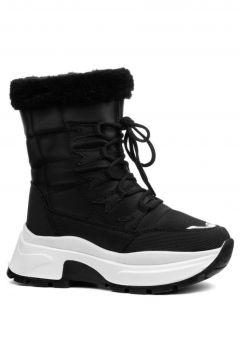 Twingo Siyah Kadın Kürklü Bot Kışlık Ayakkabı(120829051)