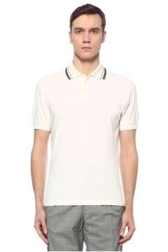 Brunello Cucinelli Erkek Beyaz Polo Yaka Şerit Detaylı T-shirt 58 IT(126848186)