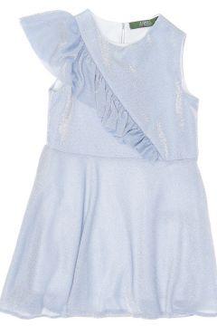 Limon Kız Çocuk Simli Mavi Elbise(120185680)