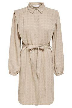 ONLY Detailreiches Kleid Mit Langen Ärmeln Damen Beige(125166881)