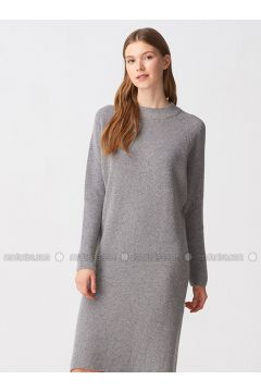 Gray - Crew neck - Unlined -- Dresses - Dilvin(110343540)