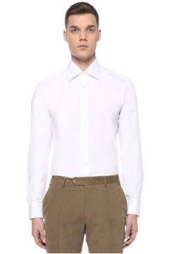 Fray Erkek Liegi Beyaz Modern Yaka Gömlek 4 IT(107373288)