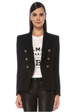 Balmain Kadın Siyah Kruvaze Yün Blazer Ceket 42 FR(122892812)