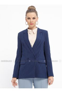 Navy Blue - Stripe - Fully Lined - Shawl Collar - Jacket - Fashion Light(110335028)