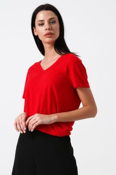 Limon Kadın Kısa Kollu V Yaka Basic Kırmızı T-Shirt(123481192)