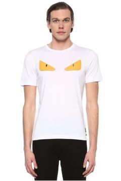 Fendi Erkek Beyaz Canavar Göz Patchli Troklu T-shirt 48 IT(108809996)