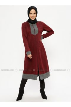 Maroon - Unlined - Crew neck - Topcoat - ZENANE(110336889)