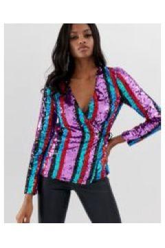 ASOS DESIGN - Top a portafoglio con maniche lunghe e motivo a righe decorato con paillettes-Multicolore(120363523)