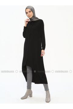 Black - Point Collar - Tunic - Tuana(110337106)