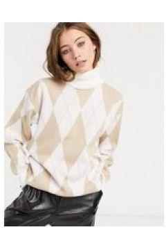In The Style x Olivia Bowen - Maglione lavorato oversize accollato color crema con stampa a rombi-Multicolore(124783664)