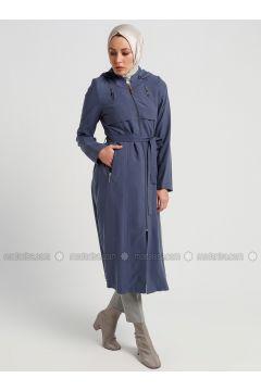 Navy Blue - Unlined - Topcoat - Butik Neşe(110335608)