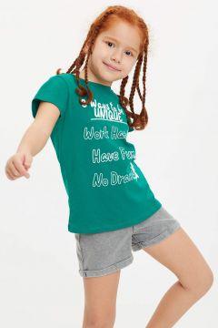 DeFacto Kız Çocuk Baskılı Kısa Kollu T-shirt(119060241)