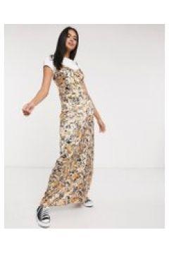 Neon Rose - Vestito lungo stile sottoveste in raso con spalline sottili e stampa cachemire-Multicolore(121196954)