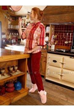 Red - Multi - Cotton - Pyjama - Siyah inci(110331138)