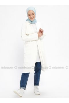 White - Ecru - Unlined - Shawl Collar - Viscose - Topcoat - XTREND(110329273)