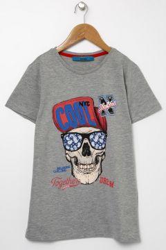 Funky Rocks Erkek Çocuk Baskılı Gri T-Shirt(113976753)