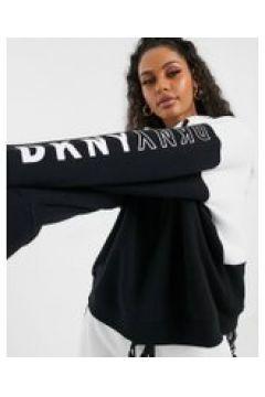 DKNY - Felpa con cappuccio e logo bianca e nera-Bianco(112345643)