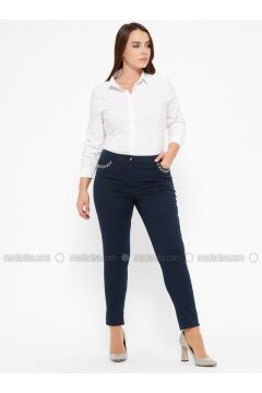 Navy Blue - Plus Size Pants - CARİNA(110320135)