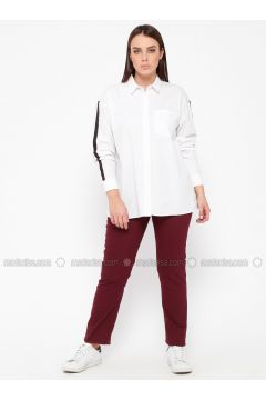Maroon - Plus Size Pants - RMG(110322983)