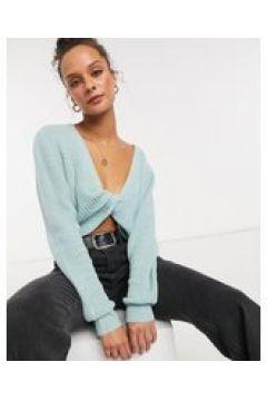 In The Style x Billie Faiers - Maglione corto lavorato a maglia con incrocio frontale salvia-Verde(123528060)