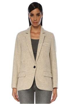 Etoile Isabel Marant Kadın Charly Ekru Kazayağı Desenli Yün Ceket Bej 34 FR(120138868)