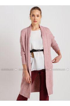 Pink - Wool Blend - Viscose - Acrylic -- Cardigan - NG Style(110341277)