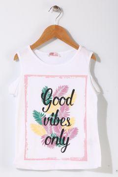 Pink&Orange Çocuk Yazılı Beyaz T-Shirt(113956612)