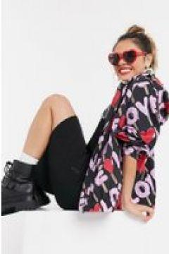 """Love Moschino - Giacca con cappuccio nera con loghi \""""Love\"""" multicolore-Nero(122685547)"""