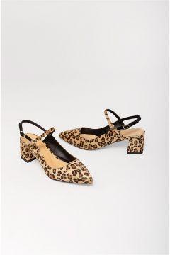 Shoes & More Kadın Kahverengi Loaso Leopar Orta Topuk Ayakkabı(124320781)