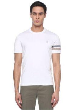 Brunello Cucinelli Erkek Regular Fit Beyaz Kolu Şeritli Basic T-shirt 52 IT(107373685)
