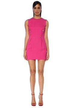 Versace Kadın Şeftali Pili Detaylı Kolsuz Mini Elbise Pembe 38 IT(120730932)