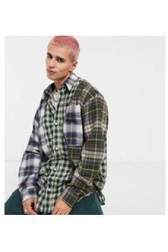 Reclaimed Vintage Inspired - Camicia in flanella a quadri con design diviso-Multicolore(123403833)