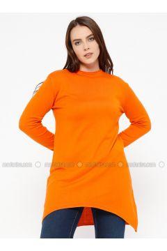 Orange - Crew neck -- Plus Size Jumper - Efraze(110329591)
