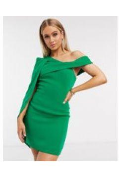 Lavish Alice - Vestito corto monospalla con mantella verde(120300806)