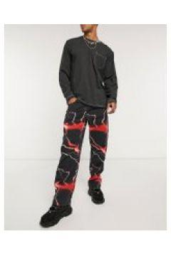 Jaded London - Lightning - Jeans stile skater rossi-Multicolore(120854621)