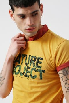 Koton Sarı Baskılı Bisiklet Yaka T-Shirt L 847943(118428963)