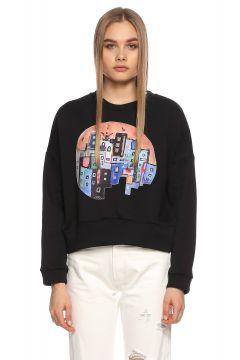 Be Mine-Be Mine Desenli Siyah Sweatshirt(108599825)