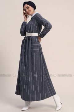Navy Blue - Stripe - Crew neck - Unlined - Cotton - Dresses - Refka(110317054)