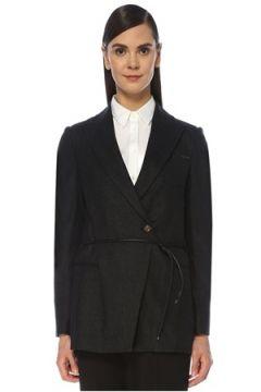 Brunello Cucinelli Kadın Siyah İp Kemer Detaylı Yün Ceket Gri 38 IT(119153483)