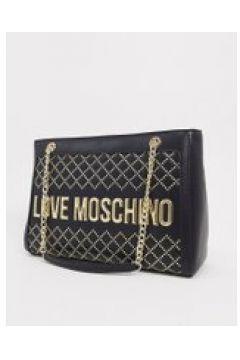Love Moschino - Maxi borsa con borchie e logo nera-Nero(120399121)